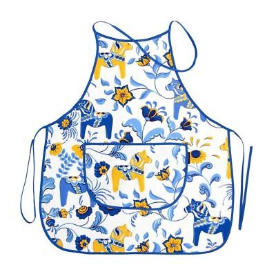 Dala Horse Colorful Swedish Kitchen Apron | Made In Sweden | White & Blue