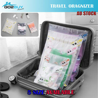 Travel Luggage Organizer Set Storage Cute Cat Pouches Suitcase Packing Bags