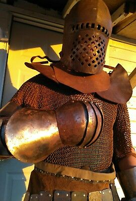 Vintage Medieval Knight Suit of Armor Combat Body Armour helmet & chainmail