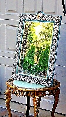 """VERY LARGE 28"""" STERLING SILVER DOMINICK&HAFF ORNATE REPOUSSE PUTTY MIRROR 1890c"""