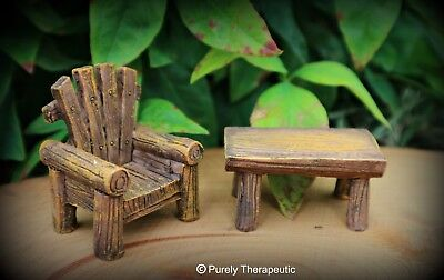 MINIATURE CHAIR AND TABLE FAIRY GARDEN FURNITURE ~ Figurines Plants Doll House