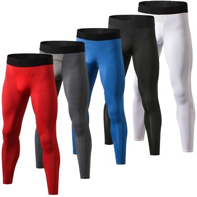 Men Compression Pants Base Layer Skin Tights Running Fitness Workout Gym Sports