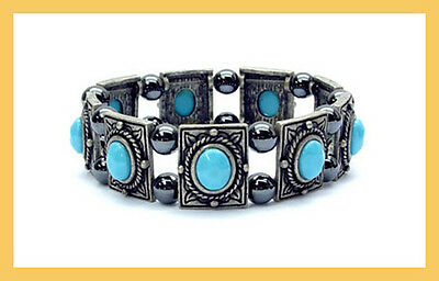 "Magnetisme, Bracelets "" Source Bleu"", 18 Aimants x 800 Gauss, Hematite"