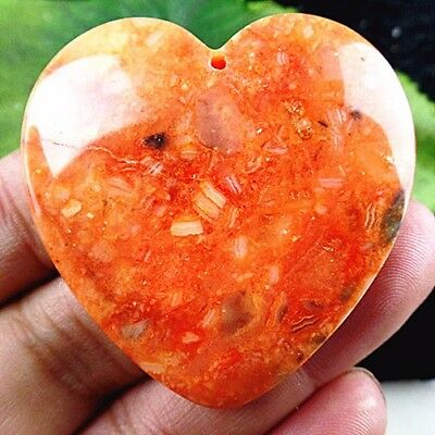 CC36580 45x45x7mm Beautiful heart Mexico Crazy Lace Agate pendant bead