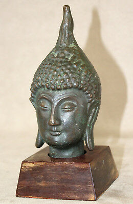 Amazing Mid 20th Century Solid Bronze Thai Buddha Head on Stand - GREAT