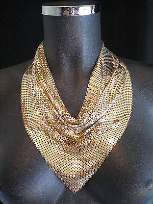 Fabulous WHITING and DAVIS Gold Metal Mesh Disco Necklace Collar SCARF & Box