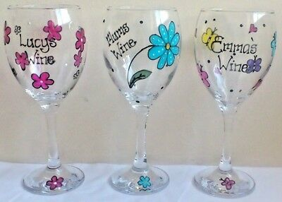 Personalised Wine Glass Hand Painted Mothers Day Gift Butterfly Dragonfly Hearts