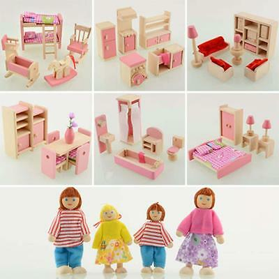 Kid Pink Wooden Furniture Dolls House Miniature 6 Room Set Doll For Xmas Gift FT