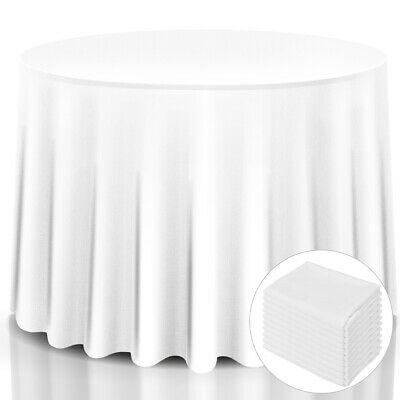 """10 pcs 90"""" Round Tablecloth Polyester For Home Wedding Restaurant Party White"""