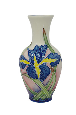 """Old Tupton Ware Iris Vase 4"""" 1270 Hand Made And Painted Tube Lined Pottery"""