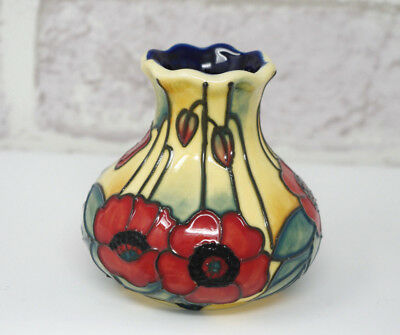 Old Tupton Ware Vase Yellow Poppy 31676 Hand Made Painted Tube