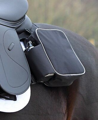 Shires Saddle Panniers (286) Horse Riding- 2 Zip Bags with Drinks Bottles, Black