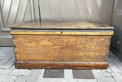 Antique Victorian Pine Chest , Blanket Box Coffee table.