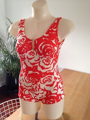 Womens Vintage Red 1960s Floral Mod 1p Swimsuit S