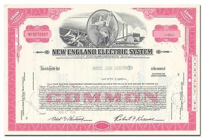 New England Electric System Stock Certificate (National Grid)