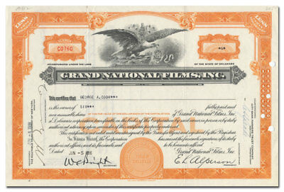 Grand National Films, Inc. Stock Certificate (James Cagney, Tex Ritter)