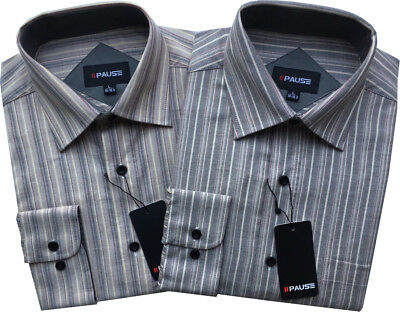 Mens Shirts Striped Work Brushed Cotton Long Sleeve Casual M-XXL Free Delivery