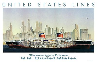 United States Lines S.S. United States Cut-away Poster  8 x 12