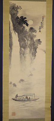 JAPANESE HANGING SCROLL ART Painting Scenery Asian antique  #E8913