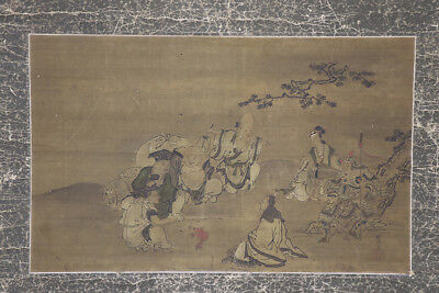 """JAPANESE HANGING SCROLL ART Painting """"Seven Deities of Good Fortune""""  #E8903"""