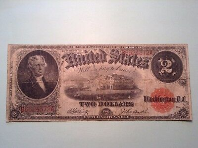 1917 $ 2 Dollar Large Currency Note Red Seal