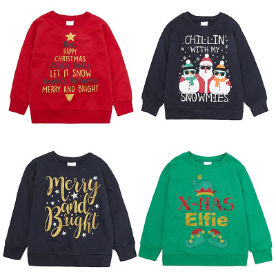 Kids Christmas Sweatshirts for Xmas Jumper Day Ages 7,8,9,10,11,12,13 Years NEW