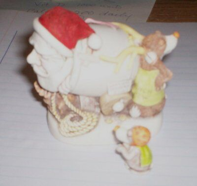Harmony Kingdom Mail Shot Santa with Orange Hat and Green Cape Reindeer - MINT!