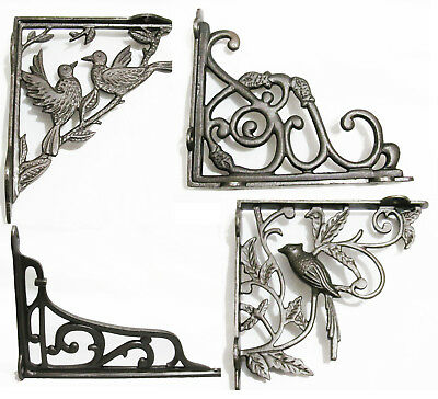 Pair of Cast Iron Wall Shelf Brackets Vintage Antique Victorian Natural Finish