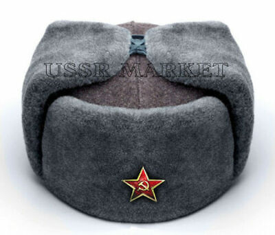 All Sizes! Authentic Russian Soviet Grey Military Winter Ushanka Hat With Badge!