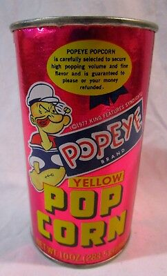 Vintage Can of Popeye Pop Corn -- Dated 1977