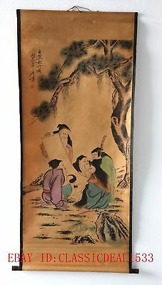 Old Scroll Chinese Painting/Figure painting—Five Elderly People ZH1006