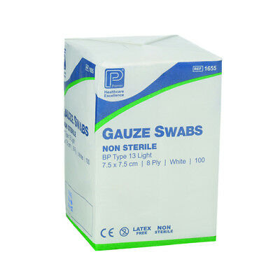 Premier Cotton Gauze Swabs, Non-Sterile,White,12 Ply, 10 x 10 cm - Pack of 100