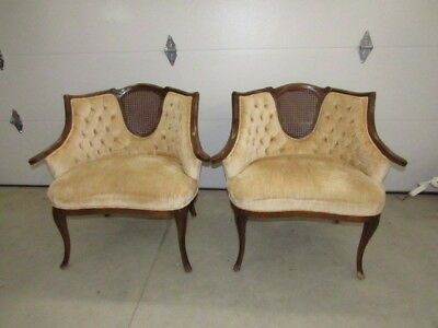Pair Vintage Gold Crushed Velvet French Provincial Cane Chairs