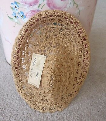 Antique 1800s Millinery Woven Straw Ladies Bonnet Original Tag Nadjy Wired RARE