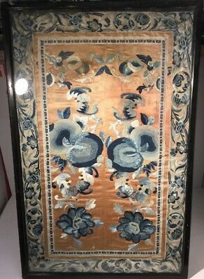 Chinese Embroidered Panel Silk Textile Forbidden Stitch Peking Knot Antique Qing