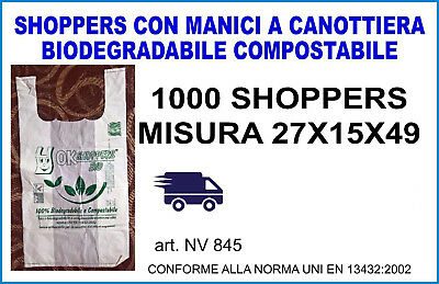 1000 SHOPPERS MISURA 27X15X49 cm. BIODEGRADABILE e COMPOSTABILE