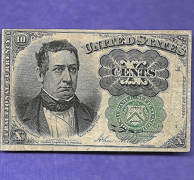 FR 1264  1874 Series Fractional 10 Cents not a common note Green Seal long KEY
