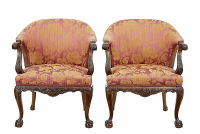 Pair Of Early 20Th Century Carved Walnut Club Chairs