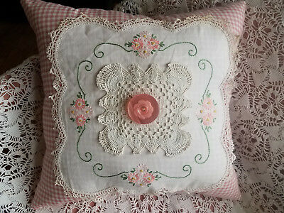VTG Crochet Lace Embroidered Doily Pillow French Country Cottage Hand Made Pink
