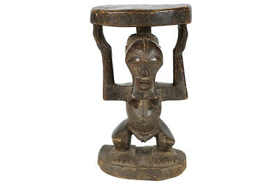 """Songye Hand-Carved Wooden African Stool 20"""" - DRC"""