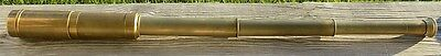 "Authentic Antique Brass Telescope 31"" Three Draw Very Good Optics w/ Sun Shield"