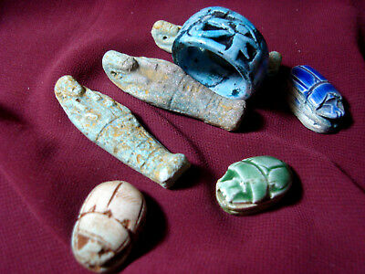 Ancient Egyptian Eye of Horus Ring + Ushabti + Scarabs lot of 7 pieces