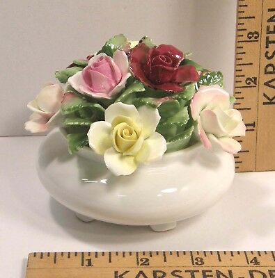 Royal Doulton Bone China Flowers In Vase Hand Sculpted Bouquet Of Roses Rose