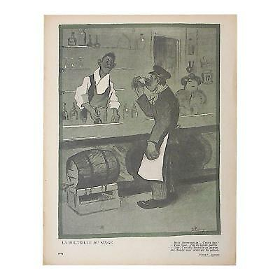 Striking Antique French Lithograph of Satire Bars/Imbibing