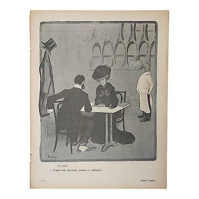 Charming Antique French Lithograph of Satire Bars/Imbibing