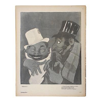 Charming Antique French Lithograph, Satire of Bars/Imbibing