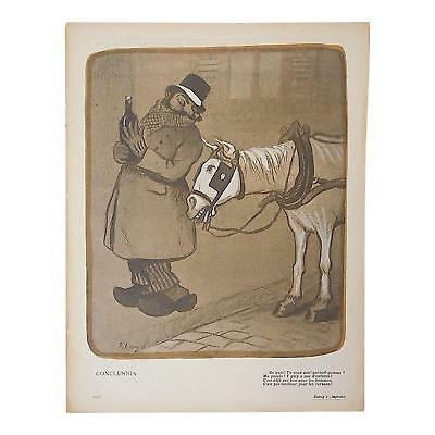 Delightful Antique French Lithograph of Satire Bars/Imbibing