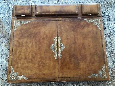 Vintage Gilded Large Leather Executive Writing Desk Blotter Pad Organizer Italy