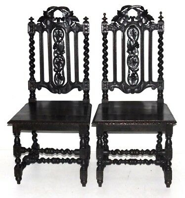 Antique Victorian Carved Oak Gothic Hall Chairs in Pair - FREE Shipping [PL4101]