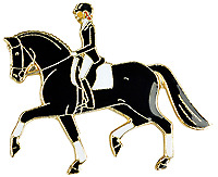 Horse Lapel Pin - Dressage - Black